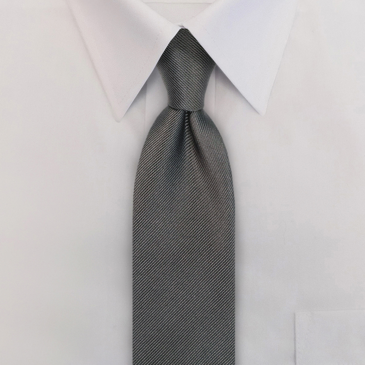 Grey Solid Twill Four-In-Hand Necktie-SB