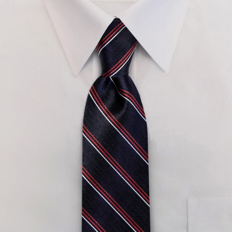 Navy/Red Stripe #611<br>Clip-On Necktie-SB