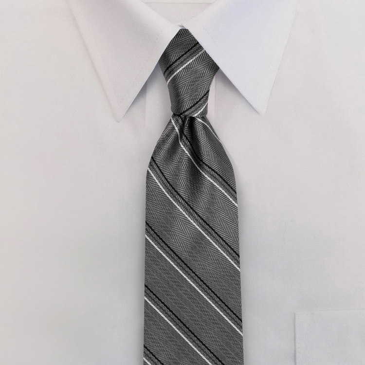 Grey/Black Stripe #616<br>Four-In-Hand Necktie-SB