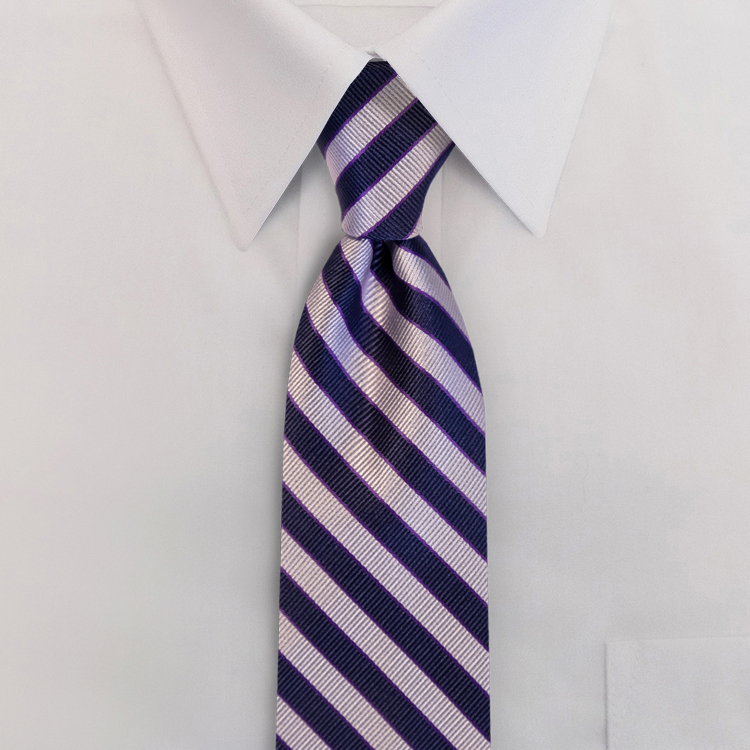 Navy/Lavender Stripe #624<br>Four-In-Hand Necktie-SB