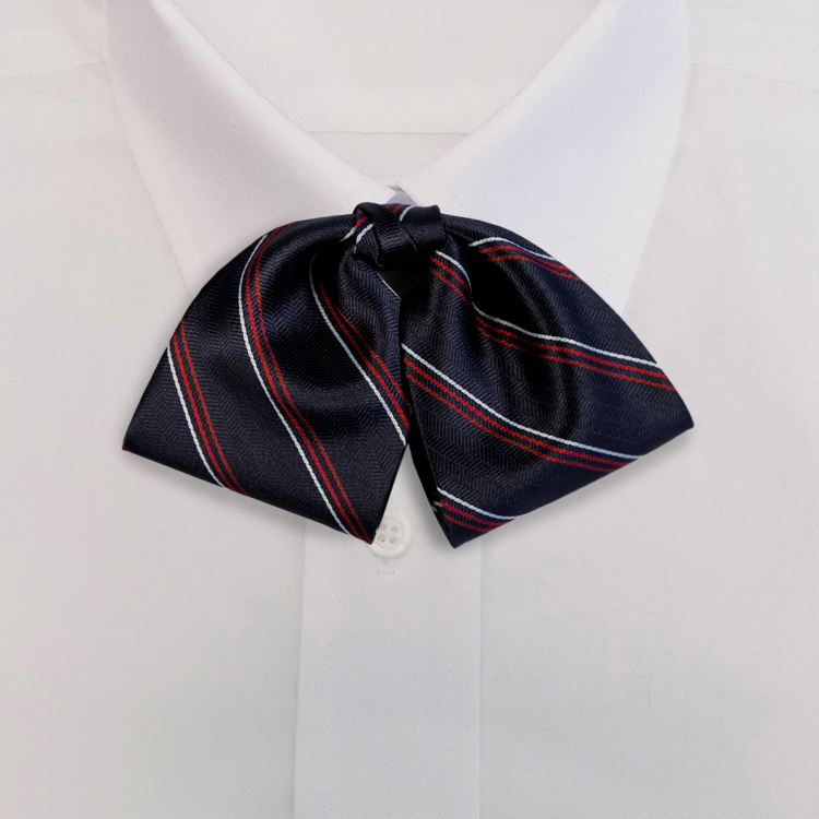 Navy/Red Stripe #611<br>Tab Bow on Adjustable Band-SB