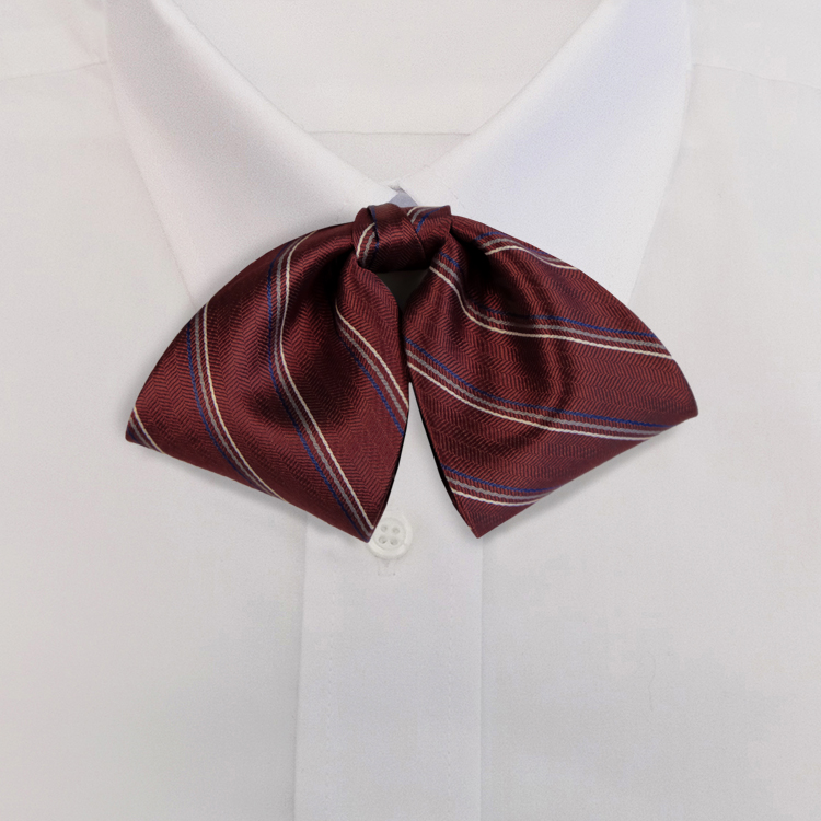 Burgundy/Grey Stripe #614<br>Tab Bow on Adjustable Band-SB