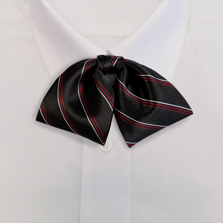 Black/Red Stripe #617<br>Tab Bow on Adjustable Band-SB