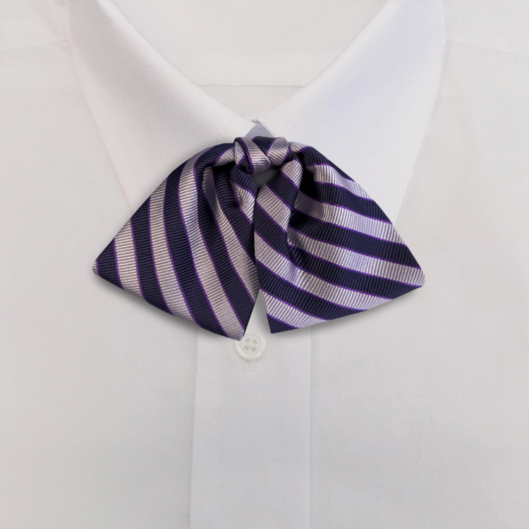 Navy/Lavender Stripe #624<br>Tab Bow on Adjustable Band-SB