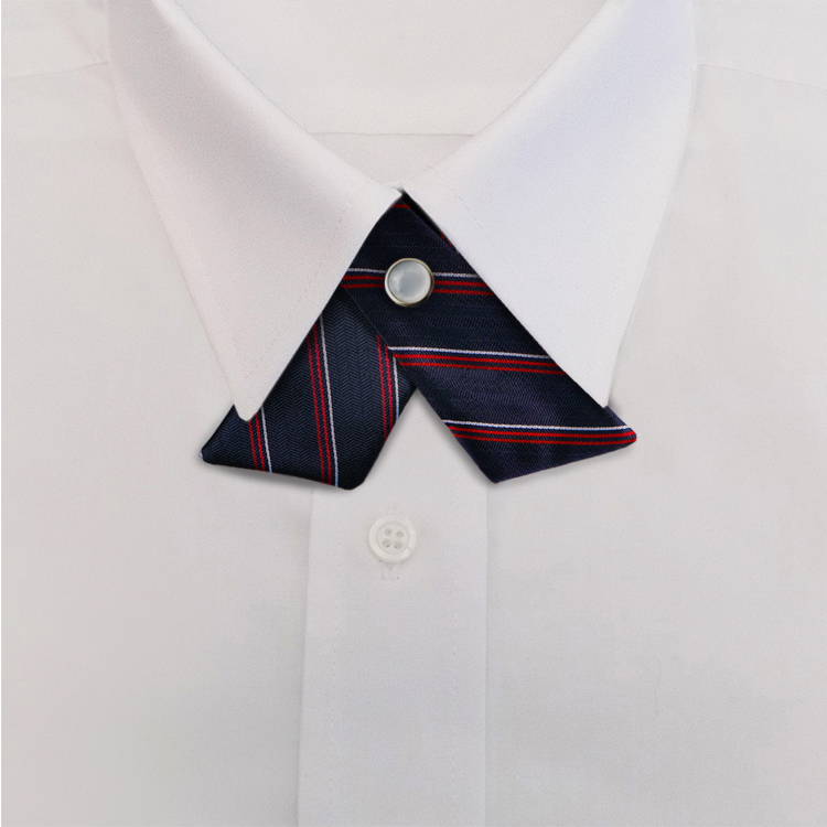 Navy/Red Stripe #611<br>Crossover Tie with Pearl Snap-SB