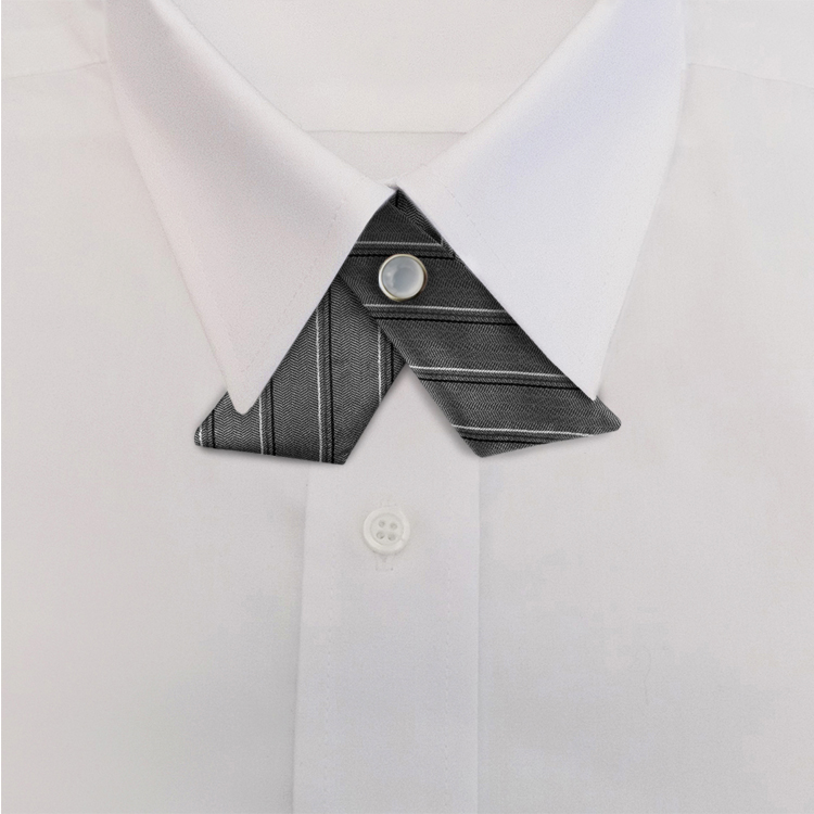 Grey/Black Stripe #616<br>Crossover Tie with Pearl Snap-SB