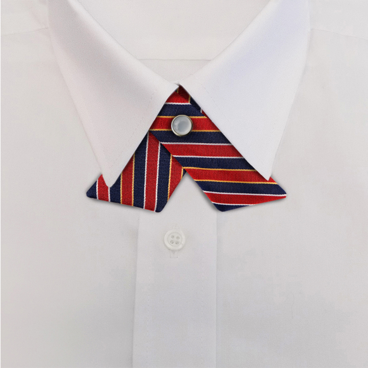 Navy/Red Stripe #621<br>Crossover Tie with Pearl Snap-SB