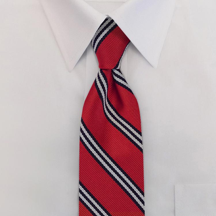 Red/Navy/White Stripe #393<br>Four-In-Hand Necktie-SB