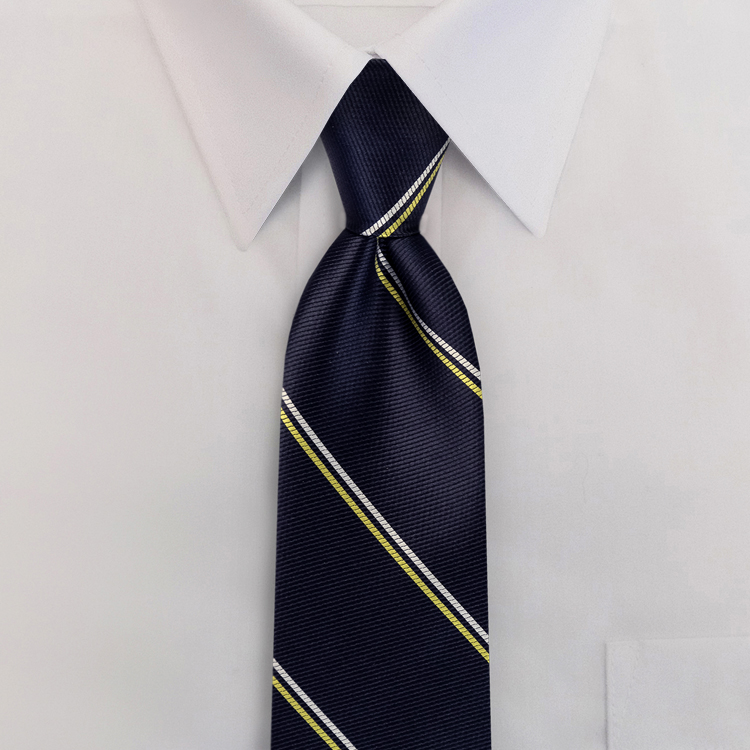 Navy/Gold/White Stripe #394<br>Four-In-Hand Necktie-SB