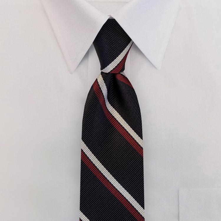 Navy/White/Burgundy Stripe #395<br>Four-In-Hand Necktie-SB