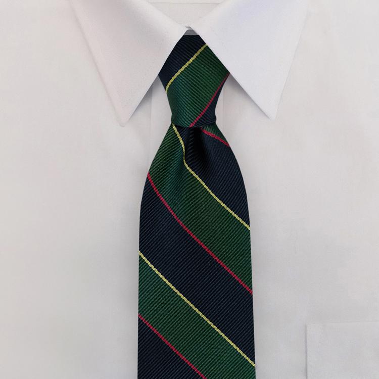 Navy/Green/Gold Stripe #397<br>Clip-On Necktie<br>-SB