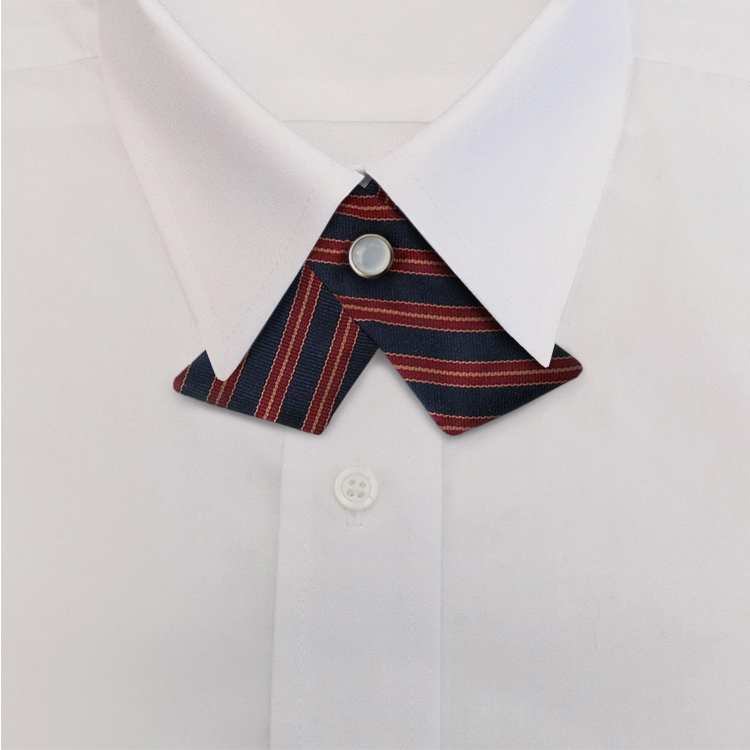 Navy/Burgundy/Tan Stripe #391<br>Crossover Tie with Pearl Snap-SB