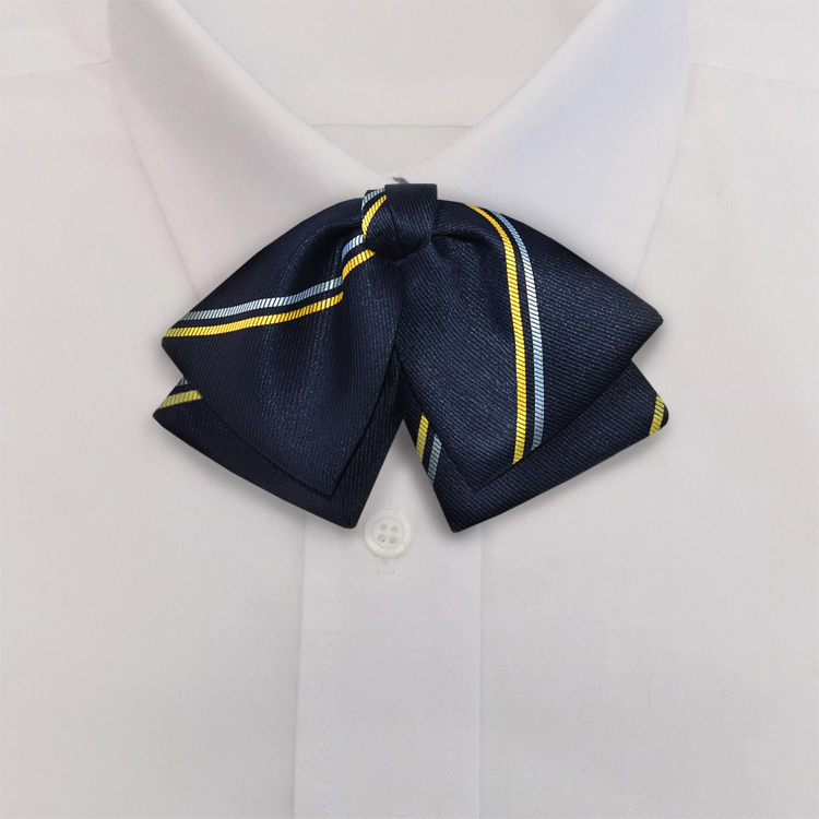 Navy/Gold/White Stripe #394<br>Manager Bow<br>on Adjustable Band-SB