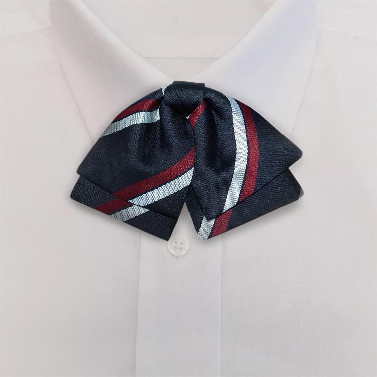 Navy/White/Burgundy Stripe #395<br>Manager Bow<br>on Adjustable Band-SB