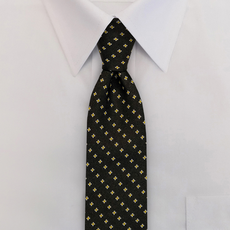 Black/Gold Woven Neat #413<br>Clip-on Necktie-SB