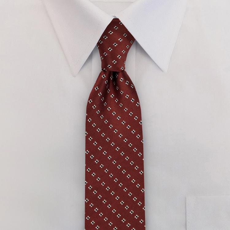 Burgundy Woven Neat #414<br>Clip-on Necktie -SB