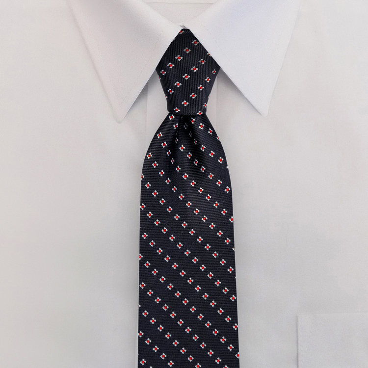 Navy/Red Woven Neat #415<br>Clip-on Necktie-SB