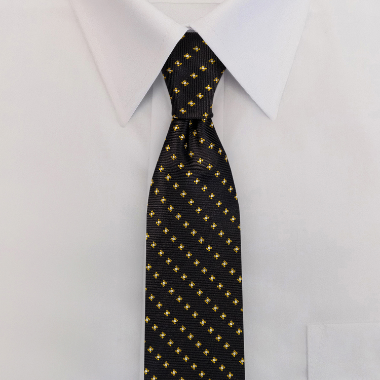 Navy/Gold Woven Neat #417<br>Clip-on Necktie-SB