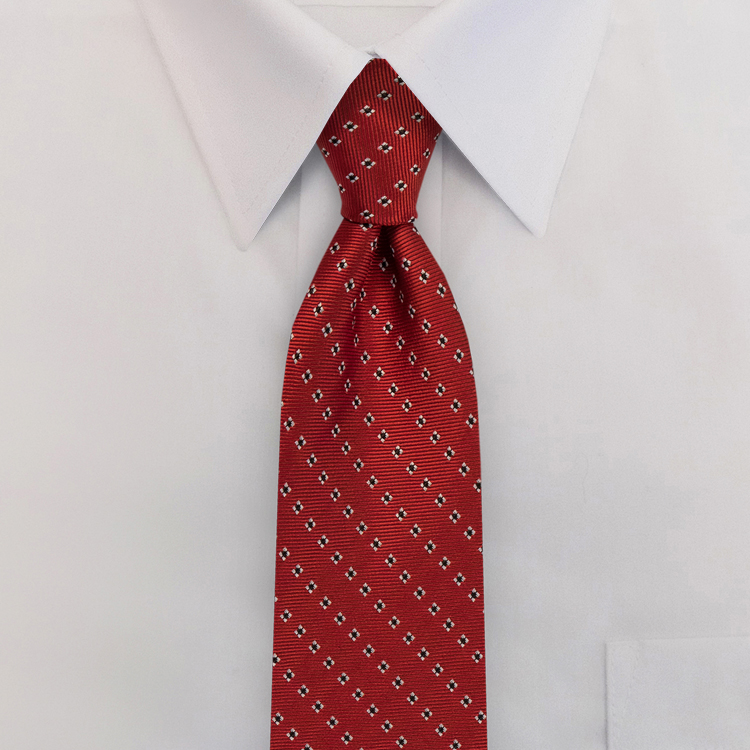Red Woven Neat #418<br>Clip-on Necktie-SB