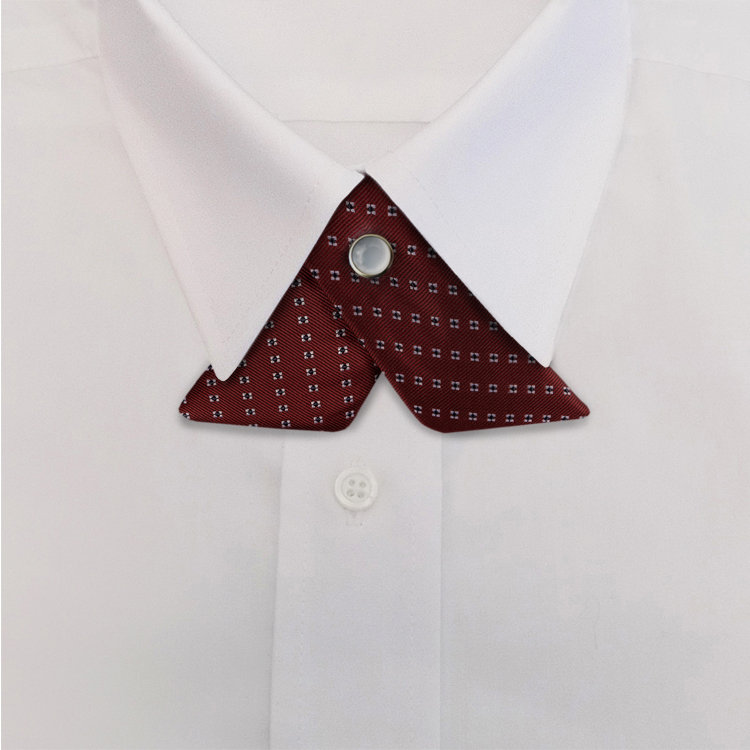 Burgundy Woven Neat #414<br>Crossover Tie with Pearl Snap-SB