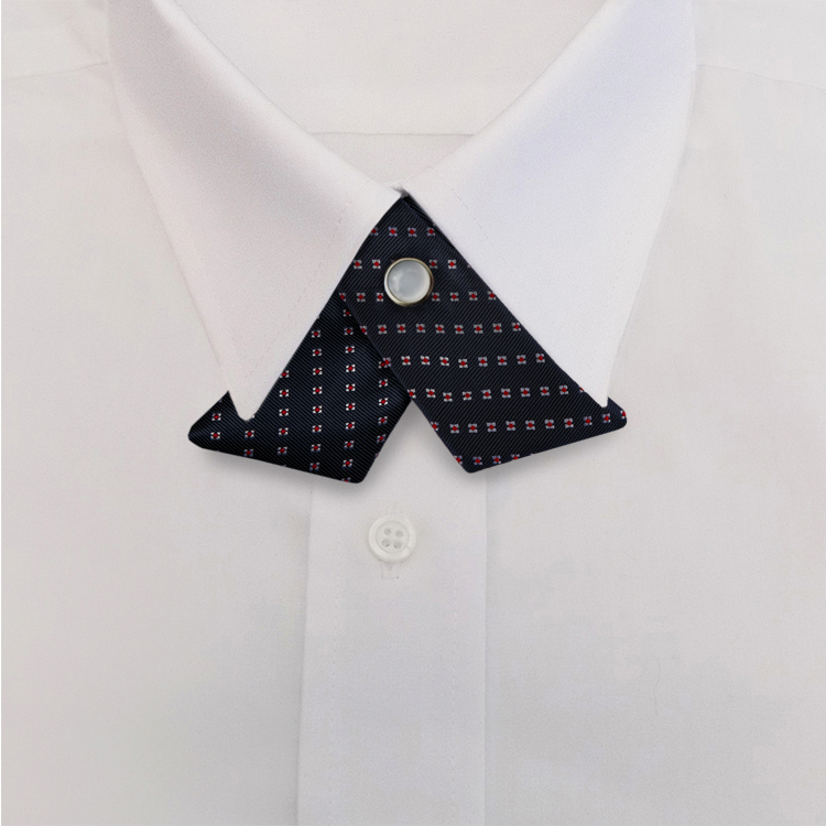 Navy/Red Woven Neat #415<br>Crossover Tie with Pearl Snap-SB