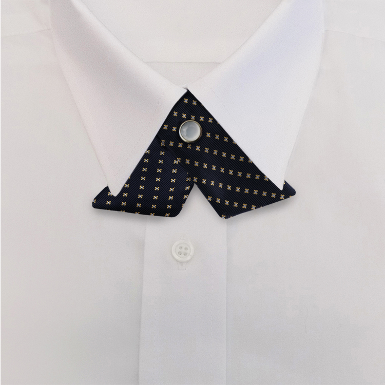 Navy/Gold Woven Neat #417<br>Crossover Tie with Pearl Snap-SB