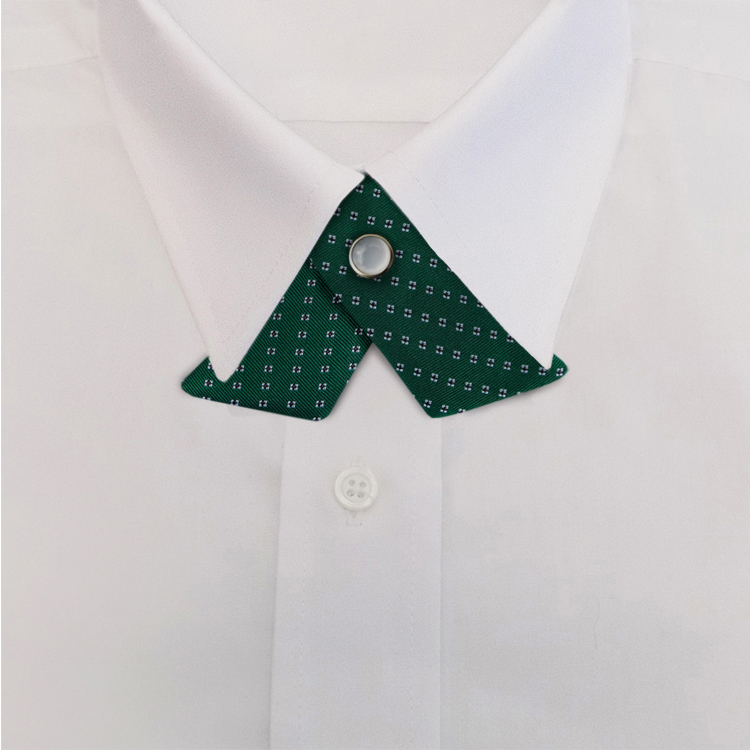 Green Woven Neat #419<br>Crossover Tie with Pearl Snap-SB