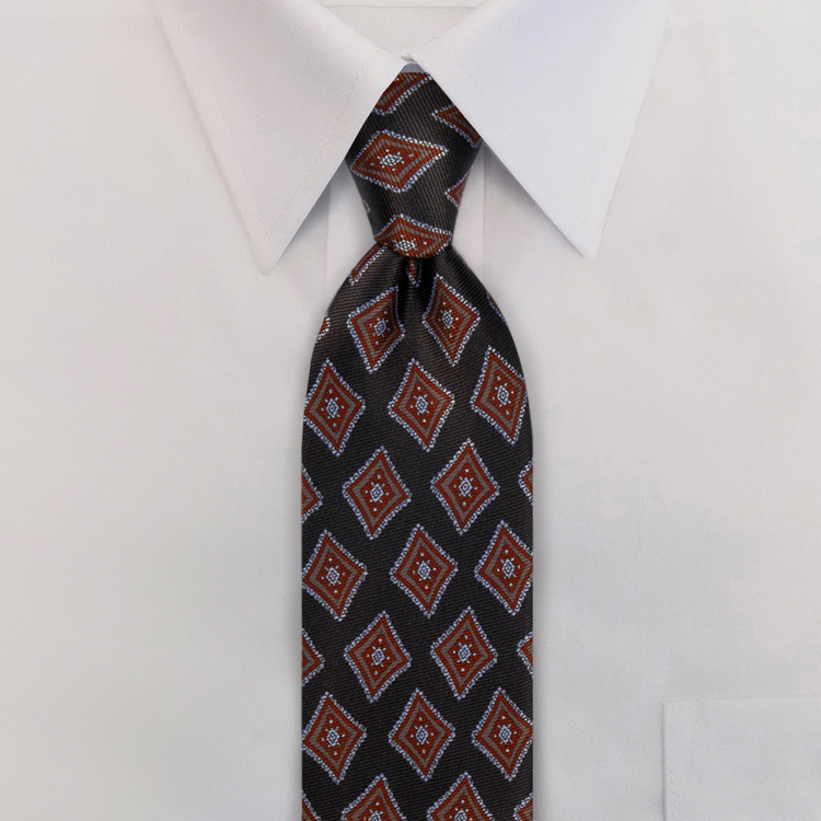 Black/Taupe #463<br>Clip-On Necktie-Samuel Broome Uniform Accessories