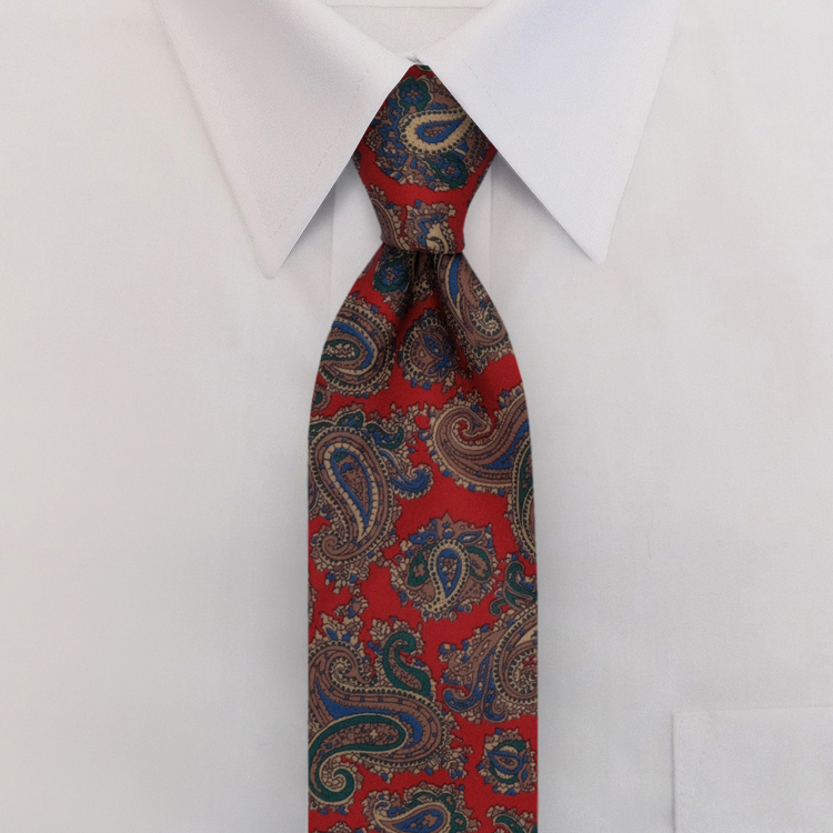 Red Paisley Print #475<br>Clip-On Necktie-SB