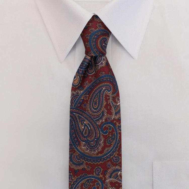 Burgundy Paisley Print #477<br>Clip-On Necktie-SB