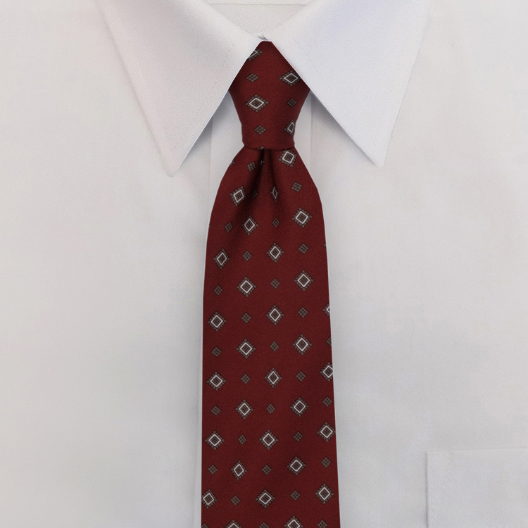Burgundy Print #482<br>Clip-On Necktie-SB