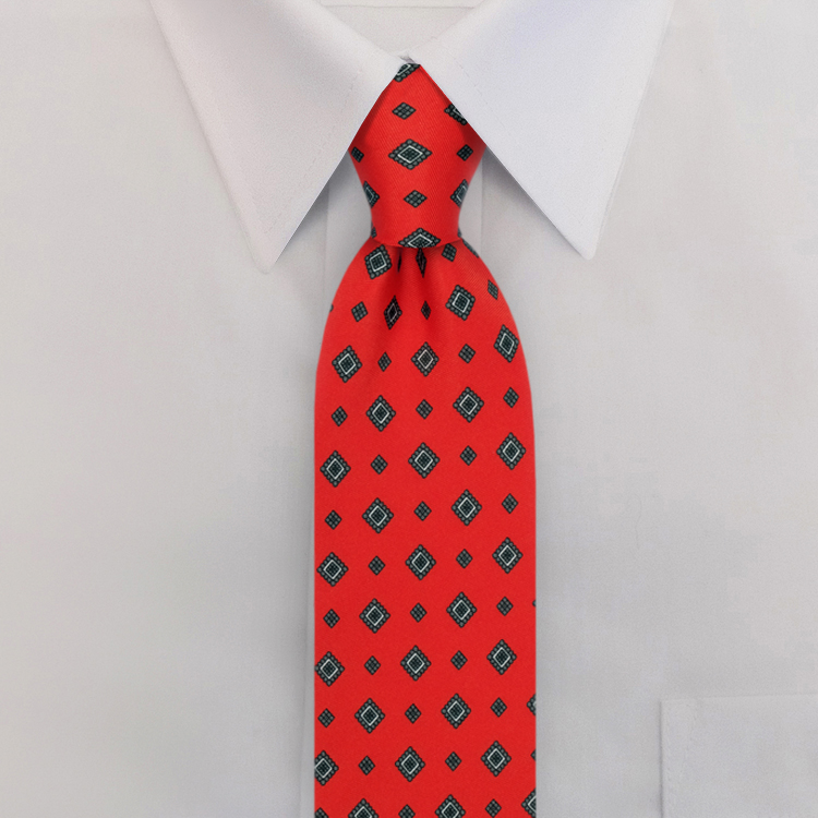 Red Print #485<br>Four-In-Hand Necktie-SB