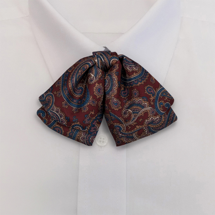 Burgundy Paisley Print #477<br>Manager Bow on adjustable band-SB
