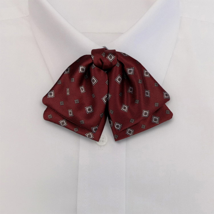 Burgundy Print #482<br>Manager Bow on adjustable band-SB