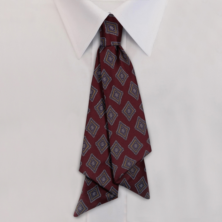 Burgundy/Navy Print #462<br>Slip Knot with hook and link closure-SB