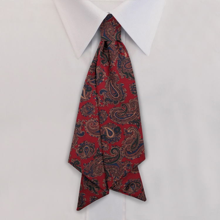 Red Paisley Print #475<br>Slip Knot with hook and link closure-SB