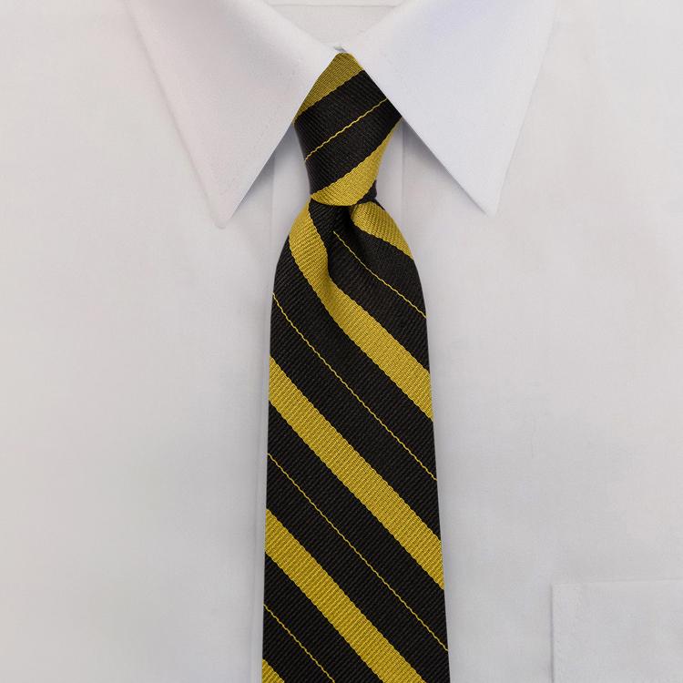 Black/Gold Stripe #712<br>Four-In-Hand Necktie-SB