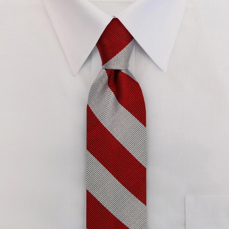 Burgundy/Silver Stripe #805<br>Clip-On Necktie-SB