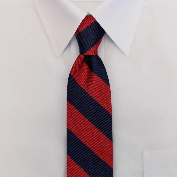 Navy/Red Stripe #807<br>Clip-On Necktie-SB