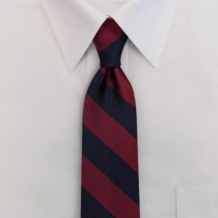 Navy/Burgundy Stripe #809<br>Four-In-Hand Necktie-SB
