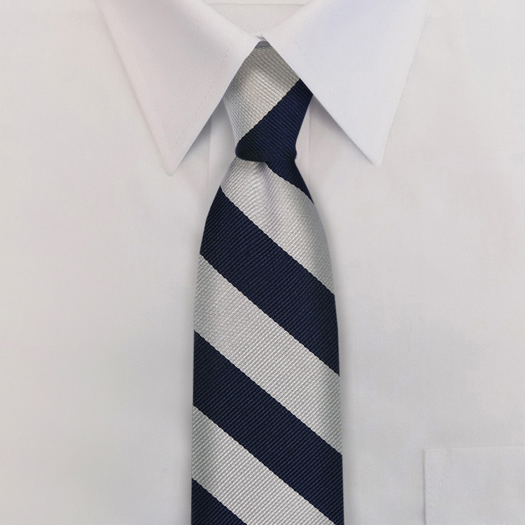 Navy/Silver Stripe #811<br>Four-In-Hand Necktie-SB