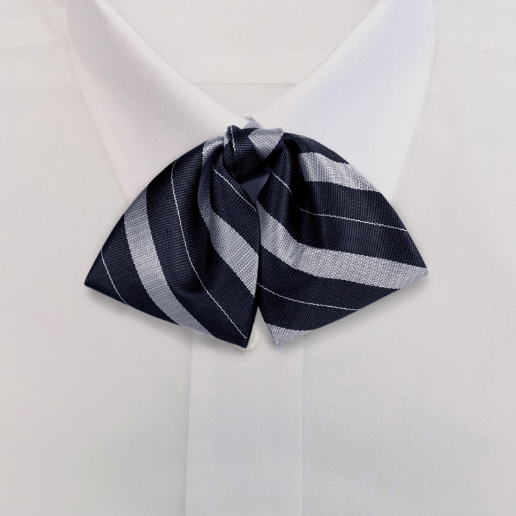 Navy/Silver Stripe #711<br>Tab Bow on Adjustable Band-SB