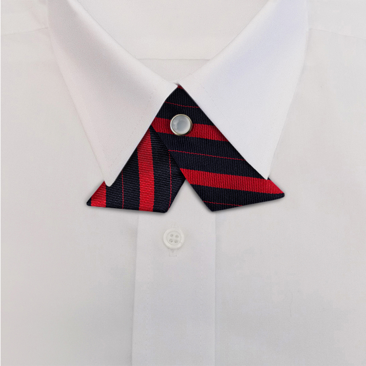 Navy/Red Stripe #707<br>Crossover Tie with Pearl Strap-SB