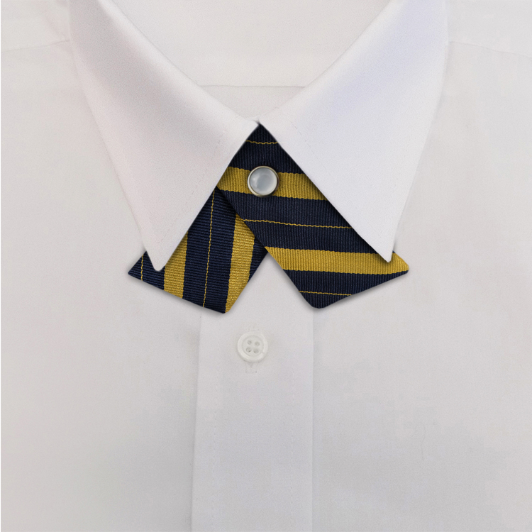 Navy/Yellow Stripe #708<br>Crossover Tie with Pearl Strap-SB