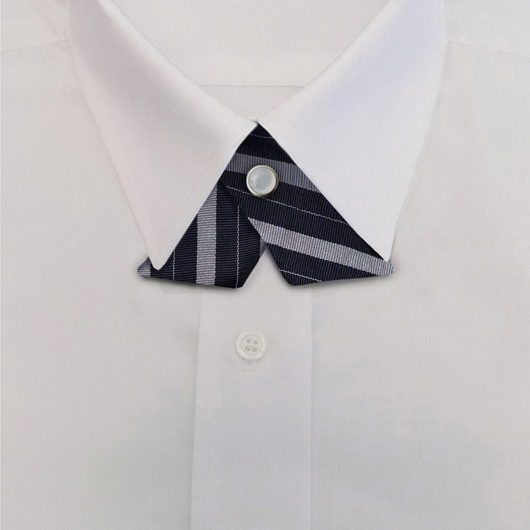 Navy/Silver Stripe #711<br>Crossover Tie with Pearl Strap-SB