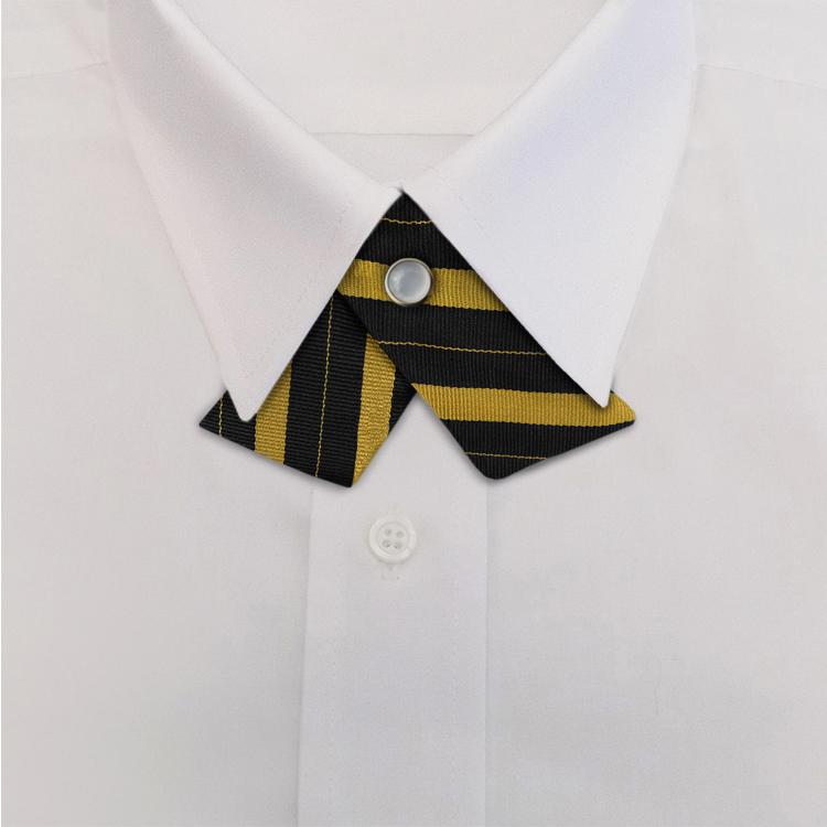Black/Gold Bar Stripe #712<br>Crossover Tie with Pearl Strap-SB
