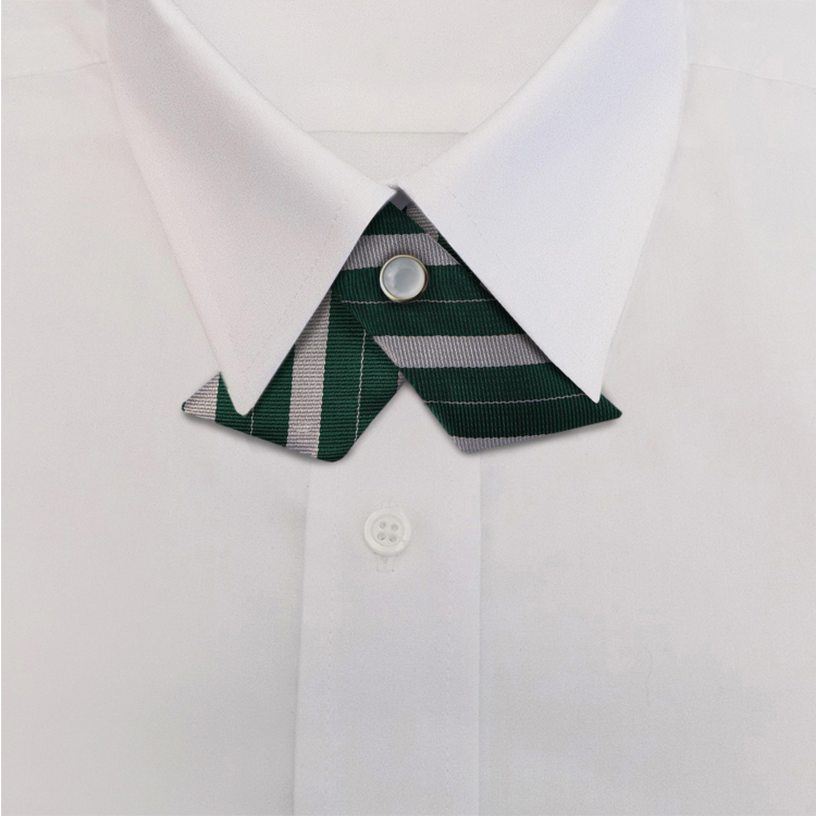 Green/Silver Stripe #719<br>Crossover Tie with Pearl Strap-SB