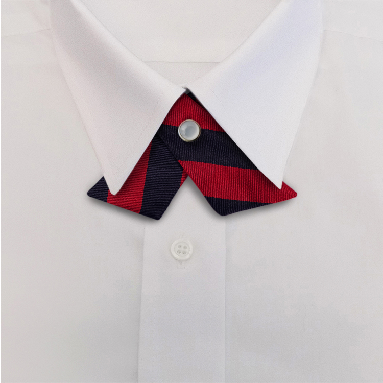 Navy/Red Stripe #807<br>Crossover Tie with Pearl Strap-SB