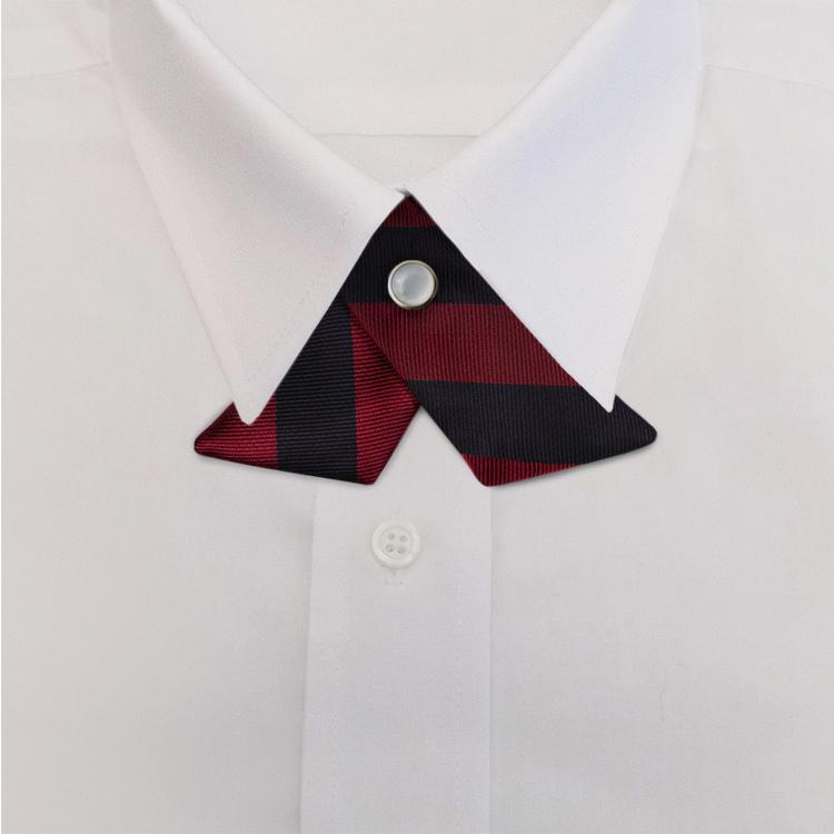 Navy/Burgundy Stripe #809<br>Crossover Tie with Pearl Strap-SB