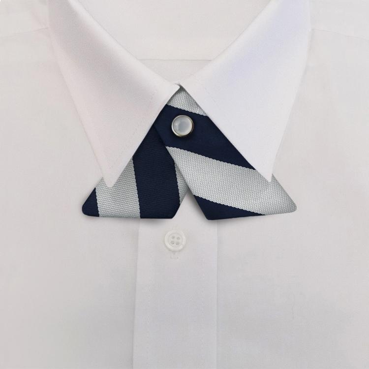 Navy/Silver Stripe #811<br>Crossover Tie with Pearl Strap-SB